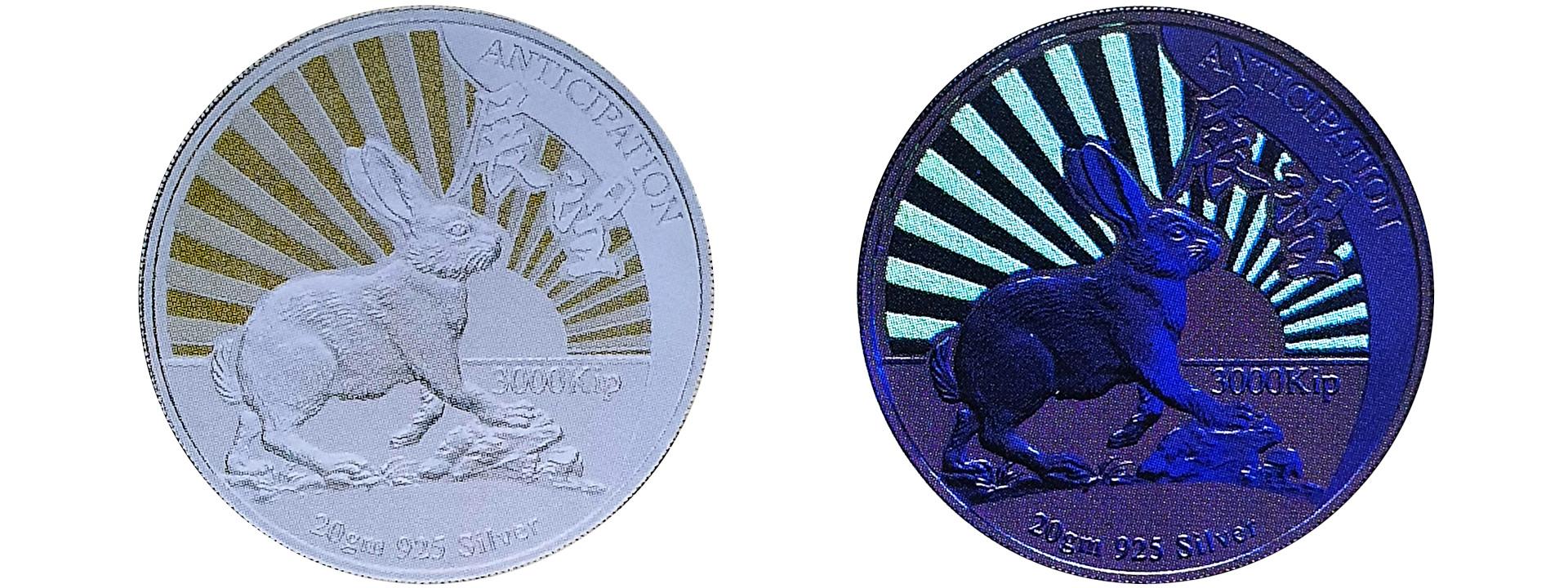 世界初となる暗闇で光る「1999年銘ラオス卯年」コイン