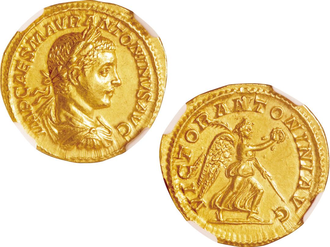 状態のよい古代コインも多数出品される(LOT.745 ヘリオガバルス アウレウス金貨)